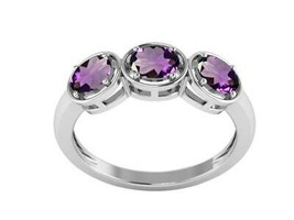 Amethyst Three Stone Stackable 925 Sterling Silver Women Wedding Ring - $18.68
