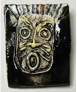 "2"" Original Luanne Tackett Simpson Black Face Mandala Hand Ceramic Brooc... - $21.37"