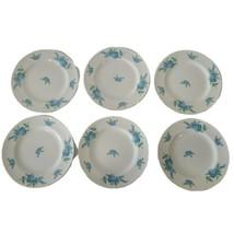 6 VTG Royalton China Co Translucent Porcelain Blue Floral Dessert Plates... - $35.64
