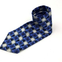 Pierre Cardin Men's Tie Blue Gray Silver Gold Square Pattern Silk Long - $11.88
