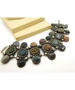 Vintage Tibetan Silver Earth Tone Genuine Gemstone Boho Wide Panel Brace... - $34.64