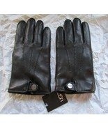 UGG Gloves Tech Smart Leather Whip Stitch Top Snap Black XL - $123.74