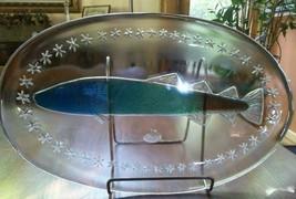"Ocean Reef Fish Platter Art Glass Studio Nova Oval 16 1/2"" German SA 881... - $30.00"