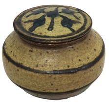 Jar Stoneware Pottery Container with Lid SIGNED 3.25 x 4.5 - $32.67