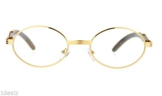 ae4aaf1af2a2 New Oval Wood Buffs clear glasses Oval UV400 Lenses Gold frame RICH