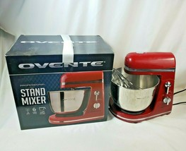 Ovente SM880R 6-Speed Professional Stand Mixer, 3.7 Quart, Metallic Red ... - $33.65