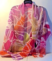 "Cynthia Rowley Scarf Wrap for Women 43"" X 44"" Red Violet Pink and Yellow... - $182,10 MXN"