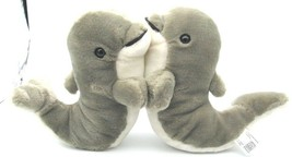 Fiesta KISSING DOLPHINS Plush Set of 2 Gray Dolphins Stuffed Animals - $9.89