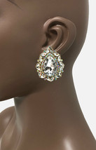 """2"""" Drop Victorian Clear & AB Crystal Evening Clip On Earrings Drag Queen, Bridal - $20.90"""
