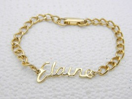 "Vintage Gold Tone ELAINE Name Chain Link Bracelet 7"" - $19.80"