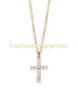 Necklace Everyday Cross Pendant Necklace ~ Goldtone ~ @2020 - $19.75