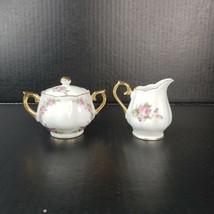 Vintage EW Nikoniko Porcelain Sugar Bowl Lid Creamer Rose Pattern Made i... - $19.99
