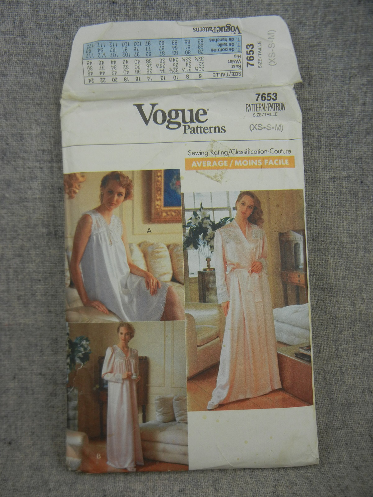 Primary image for Misses Size 6-14 Nightgown and Robe in 2 lengths With Yoke Vogue 7653  UC FF