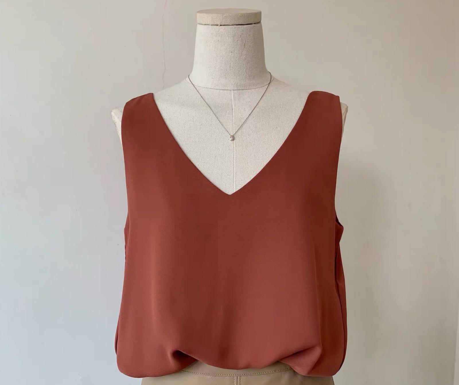 Chiffon top v neck wide shoulder 4