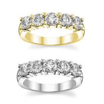 2.25CT Womens G-VS 5 Stone Diamond Wedding Band Anniversary Ring 14K Y OR W Gold - £1,222.57 GBP+