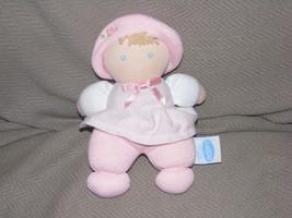 Eden Stuffed Plush Cloth Baby Girl Doll Rattle Stripe Pink Flower Blonde Blue - $31.67