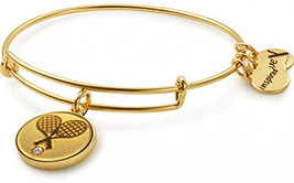 Navika Tennis Crossed Racquets Charm on Bangle Bracelet Gold plated - $102.50