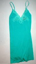 NWT New Designer Natori XS Green Chemise Modal Lace Nightie Short Gown W... - $97.50