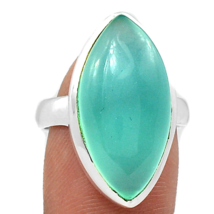 Sea Blue Chalcedony Ring Size 7.5 USA or P, 925 Silver - $28.00