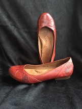 Born Paulette Red Embossed Leather Flats, Size 8.5, NWOB - $53.90
