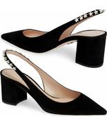 Sz 38 Miu Miu- Prada Black Suede Crystals Sandals Jewel Stars Slingbacks... - $339.00