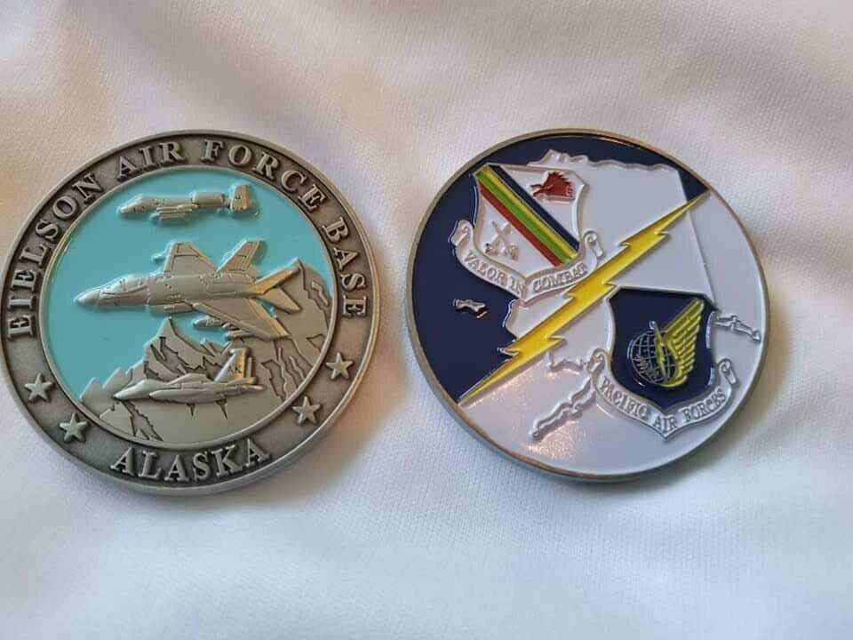 "EIELSON AIR FORCE BASE ALASKA VALOR IN COMBAT  1.75"" CHALLENGE COIN"