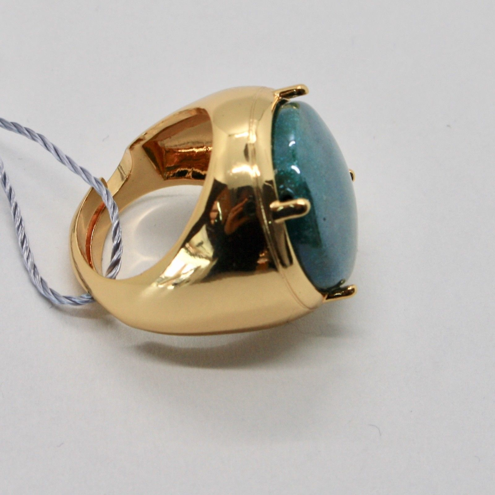 RING ANTICA MURRINA VENEZIA WITH DISC WITH MURANO GLASS GREEN GOLDEN OR592A59