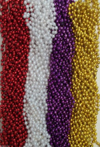 48 Mardi Gras Beads Football Party Tailgate BCS LSU Alabama 7mm 33 in  - $19.69 CAD