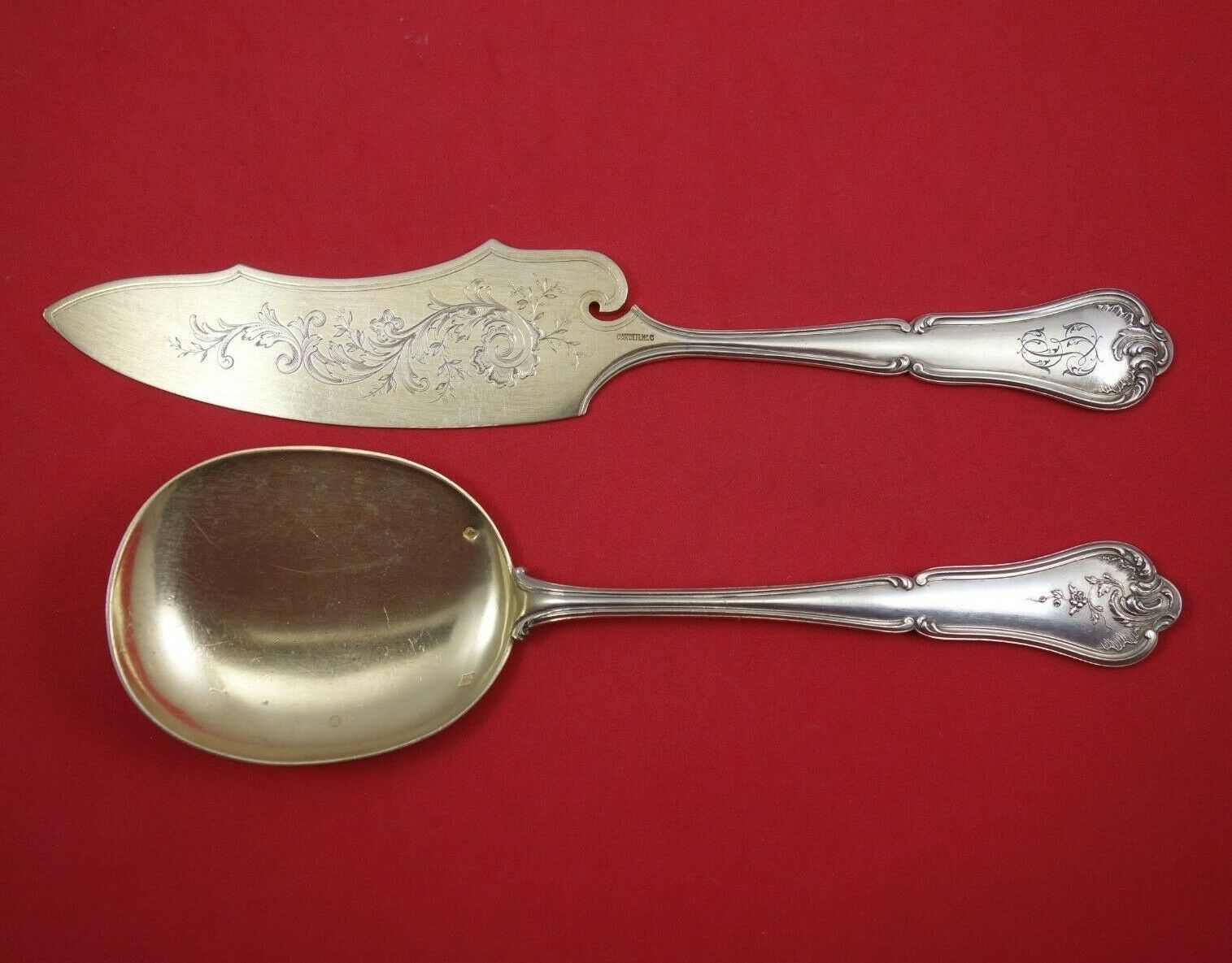 Primary image for Cardielhac Sterling Silver Ice Cream Serving Set Goldwashed 2pc