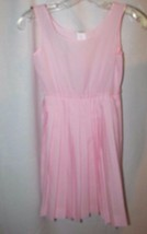 Girl's sz 8 vintage pink pleated slip dress sun dress sleeveless - $19.79