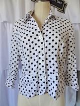 Talbots Women's 100% Linen POlka Dot Button Front Blouse Shirt Size 6P - $15.88