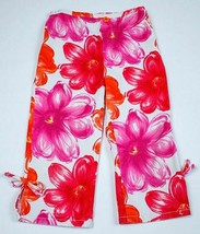 I.N. GIRL SIZE 5 SHIMMERY PINK FLORAL CROPPED PANTS FLOWERS 100% COTTON ... - $9.89
