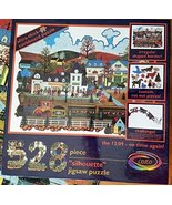 """""""Silhouette"""" Corkboard Railroad Jigsaw Puzzle 'The 12:09 - On Time Again... - $39.99"""