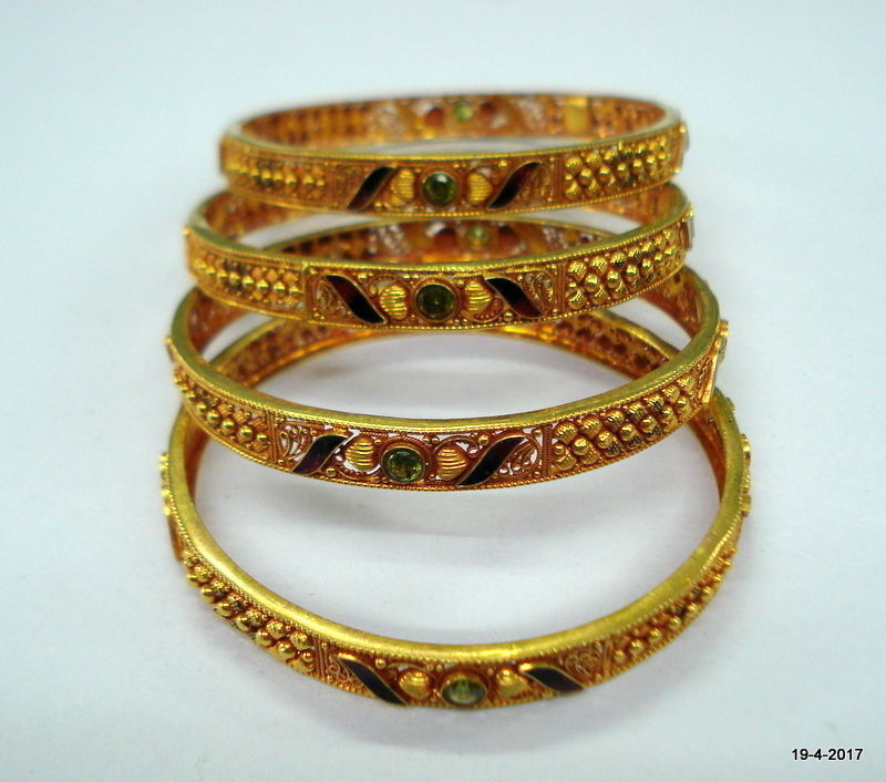 vintage 22kt gold bangle bracelet set 4pc handmade gold jewelry fine work