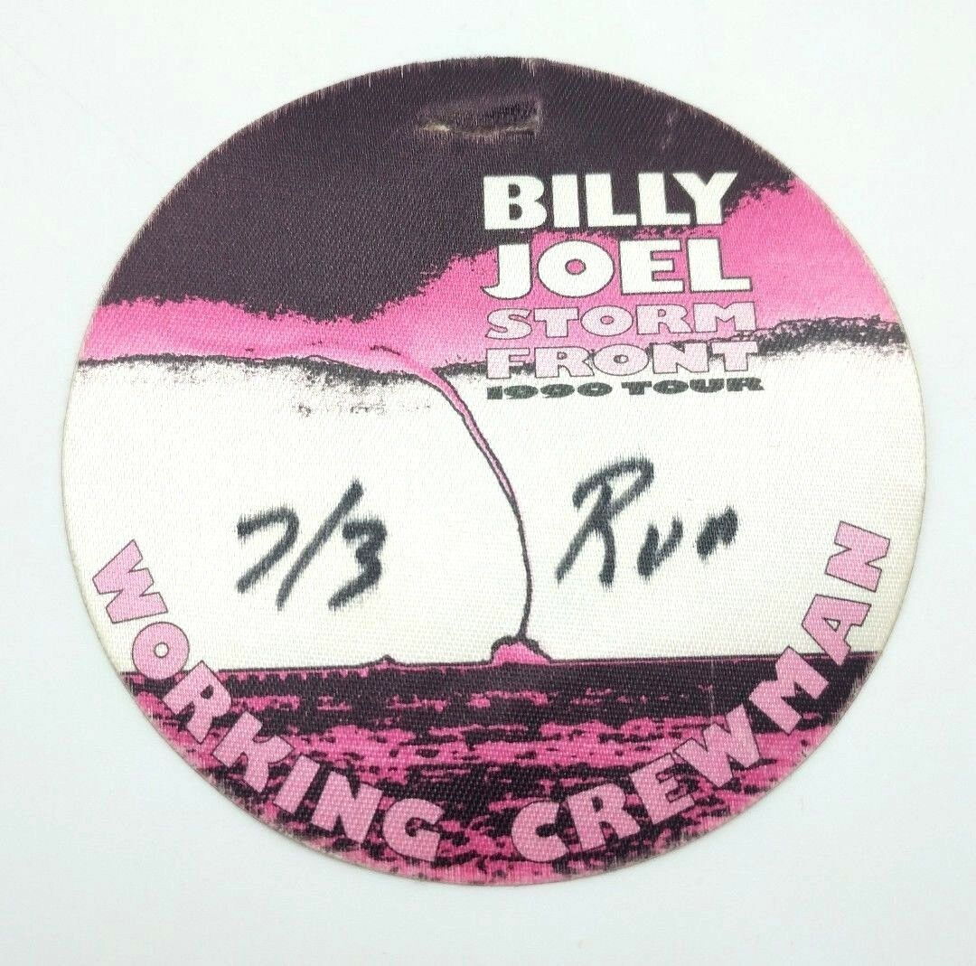 Billy Joel Storm Front 1990 Tour Working Crew Badge Canvas Sticker Rare image 2