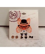 Heart, Flower Fox and Bow Stud Earrings 3 Pairs And 1 Single Stud Earring - $8.99