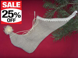 Christmas Stocking New Latvian Handmade 100% Linen with Natural Sheepski... - $16.13
