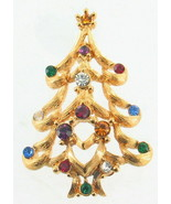 VINTAGE MONET RED GREEN BLUE PURPLE CLEAR RHINESTONE GOLD CHRISTMAS TREE... - $40.49