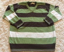 Children's Place Boys Green Brown White Striped V Neck Long Sleeve Sweater 4T - $6.43