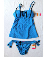 NWT Betsey Johnson Sexy Blue Rosette Black Corset Tankini Swim Suit S $186 - $71.40