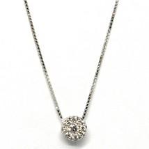18K WHITE GOLD NECKLACE CENTRAL FRAME DIAMONDS .09 FLOWER PENDANT VENETIAN CHAIN image 1