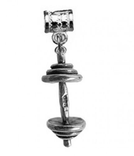 HOT Weight lifter Sterling silver European bead charm dumbbell body building jew