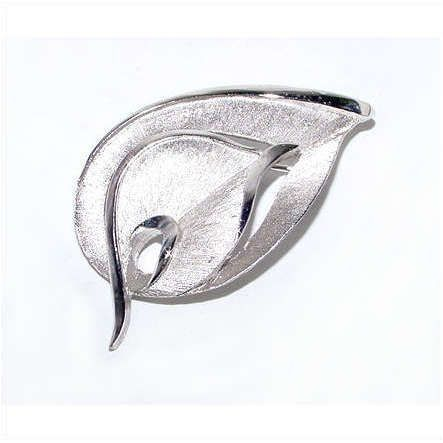 Primary image for 1960s Modernist Silver Tone Leaf Brooch