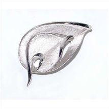 1960s Modernist Silver Tone Leaf Brooch - $29.95