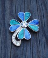 Lucky Vintage Trifari Clover Brooch Shamrock Pin, Green Enamel, Blue Ena... - $44.00