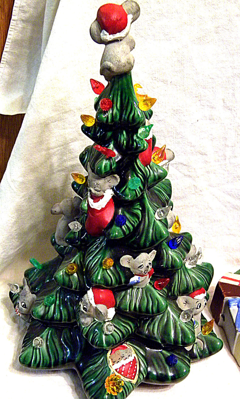 Vintage Lighted Ceramic Christmas Tree With Mice and ...