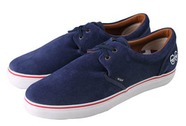 New Huf Mens Genuine Navy White Suede Cromer Skate Shoes Sneakers