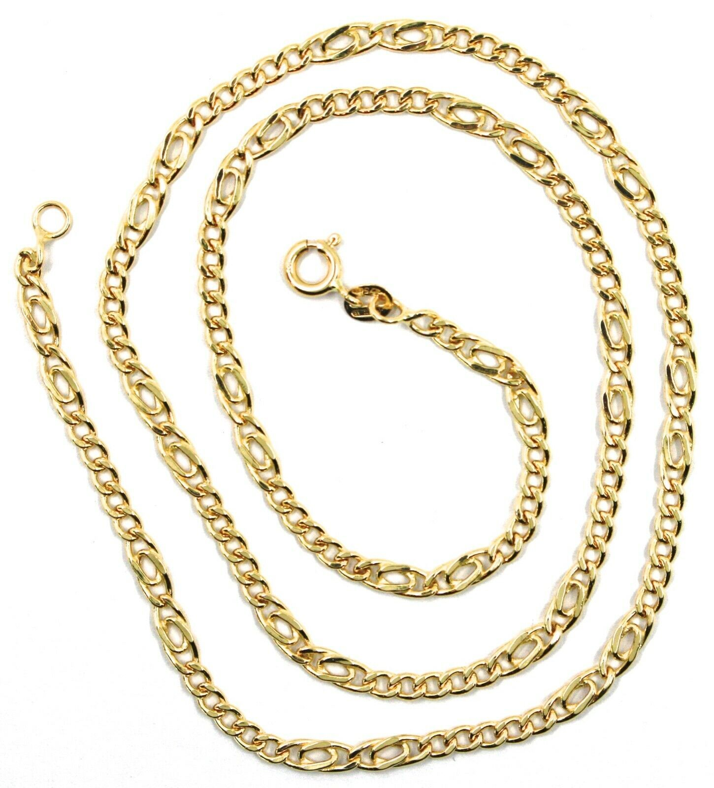 18K YELLOW GOLD CHAIN 3 MM, 20 INCHES, ALTERNATE 5 GOURMETTE, 2 TIGER EYE LINKS image 3