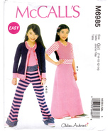 McCall's M6985 Girls Top Skirt Pants Cardigan Sewing Pattern Children Si... - $6.45