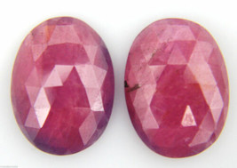 19.18 ct 13 x 17mm flat Natural Ruby Gemstone PAIR OVAL Rose Cut Slice r... - $59.99